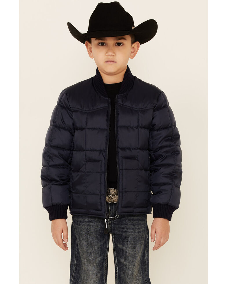 Roper Boys' Price Point Navy Poly Fill Zip-Front Jacket , Navy, hi-res