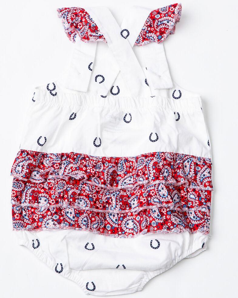 Wrangler Infant Girls' Horseshoe Print Ruffle Romper, White, hi-res