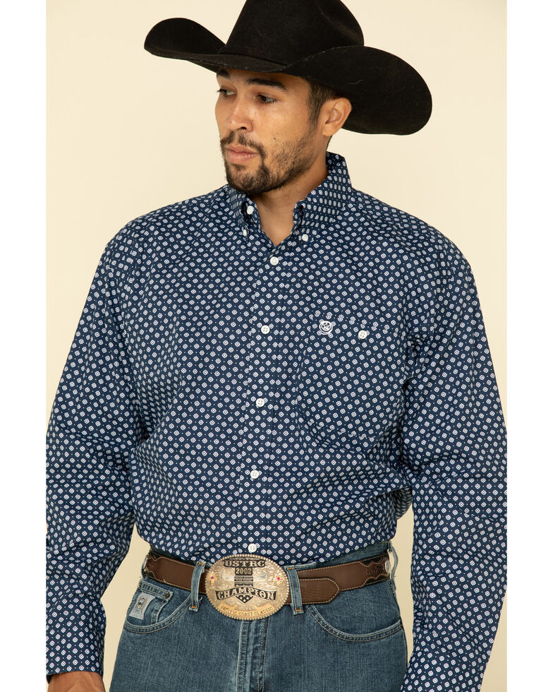George Strait by Wrangler Purple Geo Print Button Long Sleeve Western Shirt - Tall , Purple, hi-res