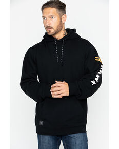 Hawx Men's Black Logo Sleeve Hooded Work Sweatshirt - Tall , Black, hi-res