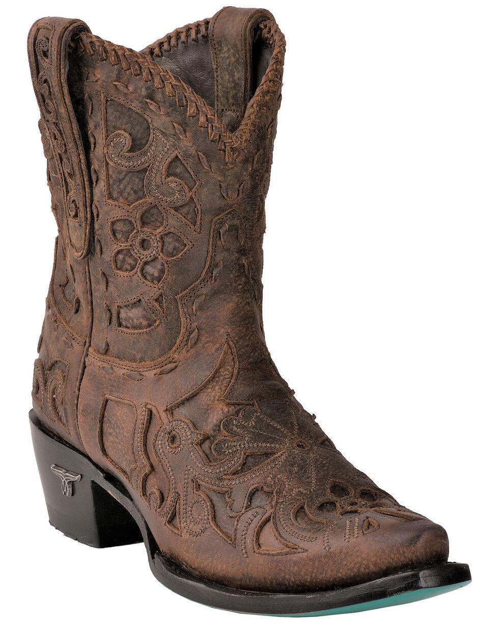 Lane Women's Robin Inlay Cowgirl Booties - Snip Toe , Brown, hi-res