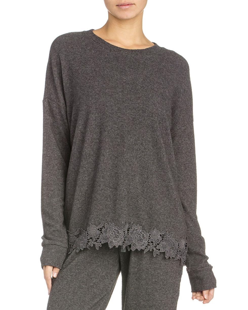 Miss Me Women's Soft Crochet Hem Long Sleeve Top , Charcoal, hi-res
