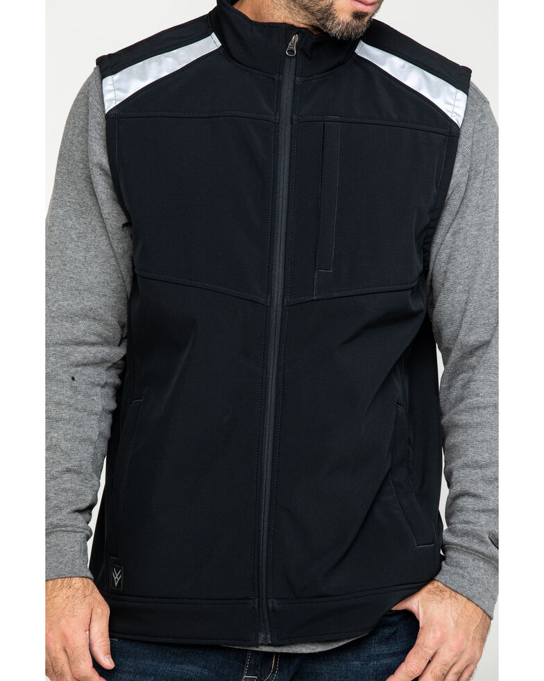 Hawx Men's Black Reflective Soft Shell Moto Work Vest , Black, hi-res