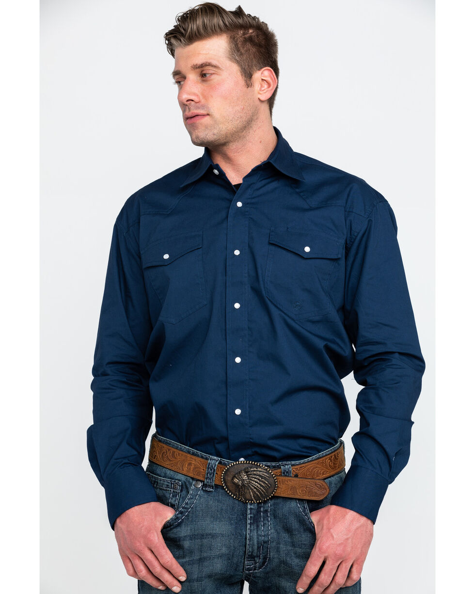Stetson Men's Amarillo Solid Long Sleeve Western Shirt , Blue, hi-res