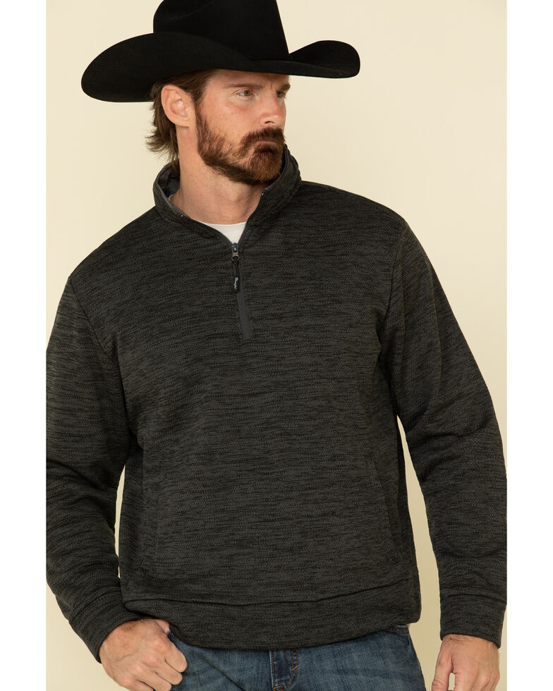 George Strait By Wrangler Men's Black 1/4 Zip Relaxed Pullover Sweatshirt , Black, hi-res