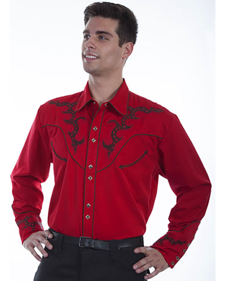 Scully Men's Solid Embroidered Yoke Long Sleeve Western Shirt , Red, hi-res