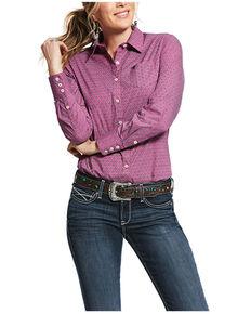 Ariat Women's Magenta Kirby Lotus Print Long Sleeve Western Shirt , Magenta, hi-res