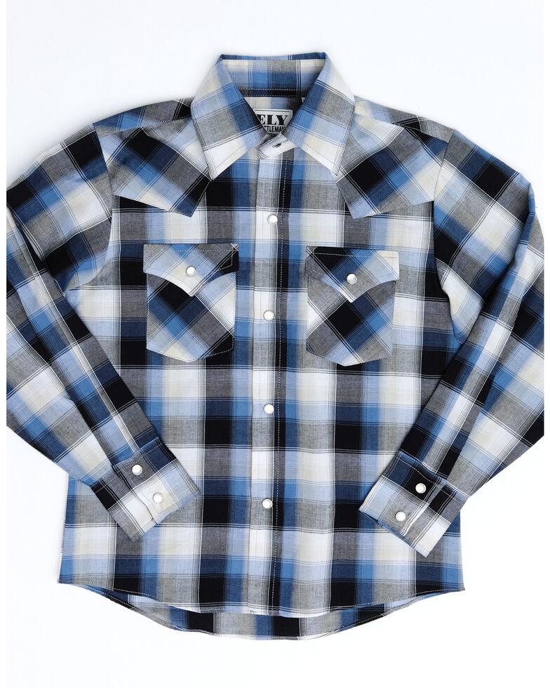 Ely Walker Boys' Black Plaid Long Sleeve Western Shirt , Black, hi-res