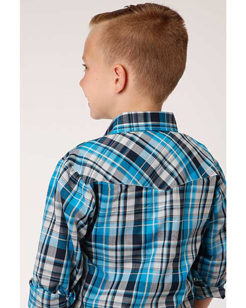 Roper Boys' Multi Plaid Snap Long Sleeve Western Shirt , Blue, hi-res