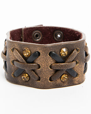 Shyanne Women's Two-Tone Criss-Cross Bracelet Cuff, Brown, hi-res