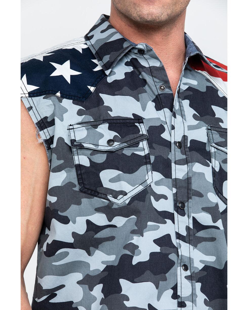 Cody James Men's Grey Camo Bubba Flag Yoke Sleeveless Western Shirt , Grey, hi-res