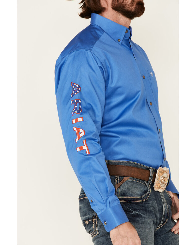 Ariat Men's Blue Team Logo Button Long Sleeve Western Shirt - Tall , Blue, hi-res