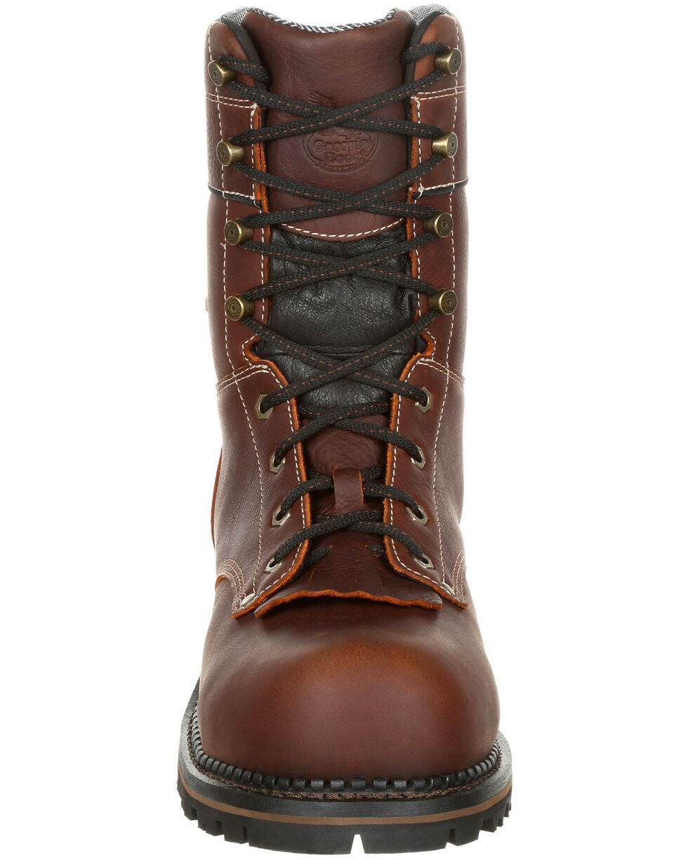 Georgia Boot Men's Amp LT Waterproof Logger Boots - Composite Toe, Brown, hi-res