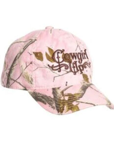 Cowgirl Up Women's Pink Realtree Camo Embroidered Logo Ball Cap , Pink, hi-res