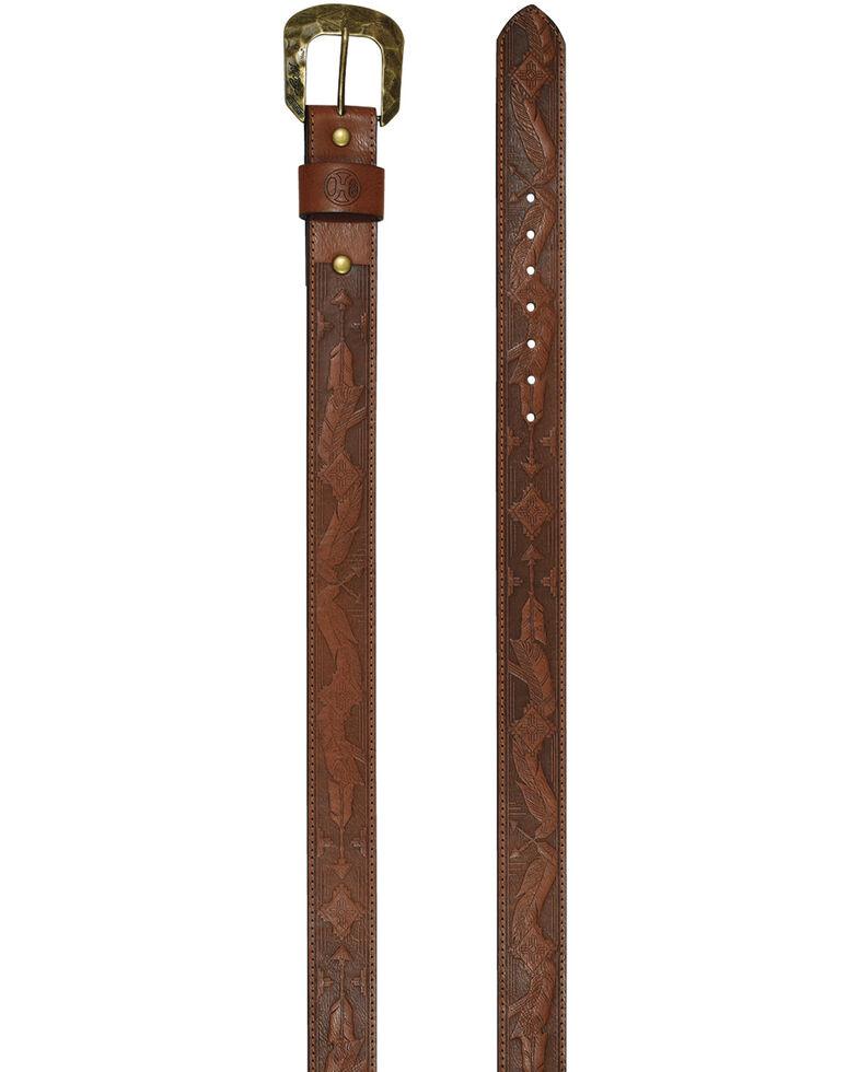 HOOey Women's Brown Feather Belt, Brown, hi-res