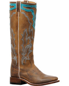 Boulet Women's Brown Cowboy Tall Western Boots - Square Toe , Brown, hi-res
