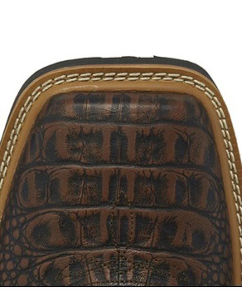 Justin Men's Derrickman Croc Print Western Work Boots - Composite Toe, Cognac, hi-res