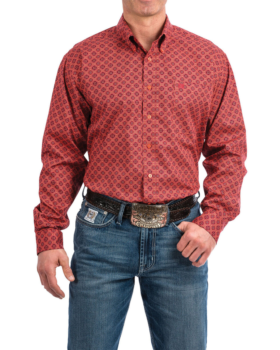 Cinch Men's Coral Floral Print Long Sleeve Western Shirt , Coral, hi-res