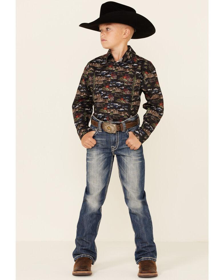 Dale Brisby Boys' Western Range Conversational Print Long Sleeve Snap Western Shirt , Black, hi-res