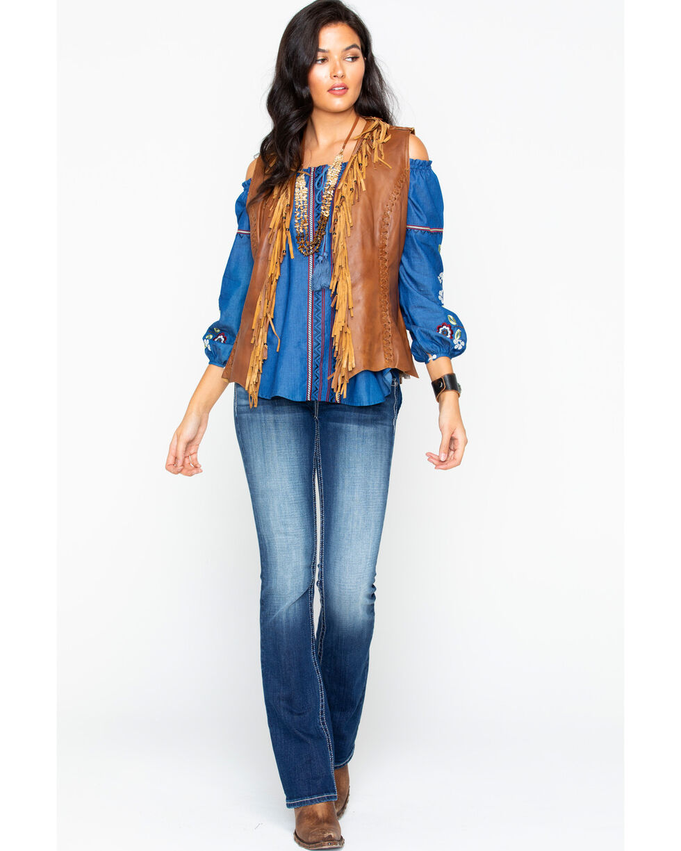 Cripple Creek Women's Leather Fringe Vest , Brown, hi-res