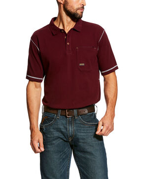 Ariat Men's Rebar Work Polo Shirt - Tall , Red, hi-res