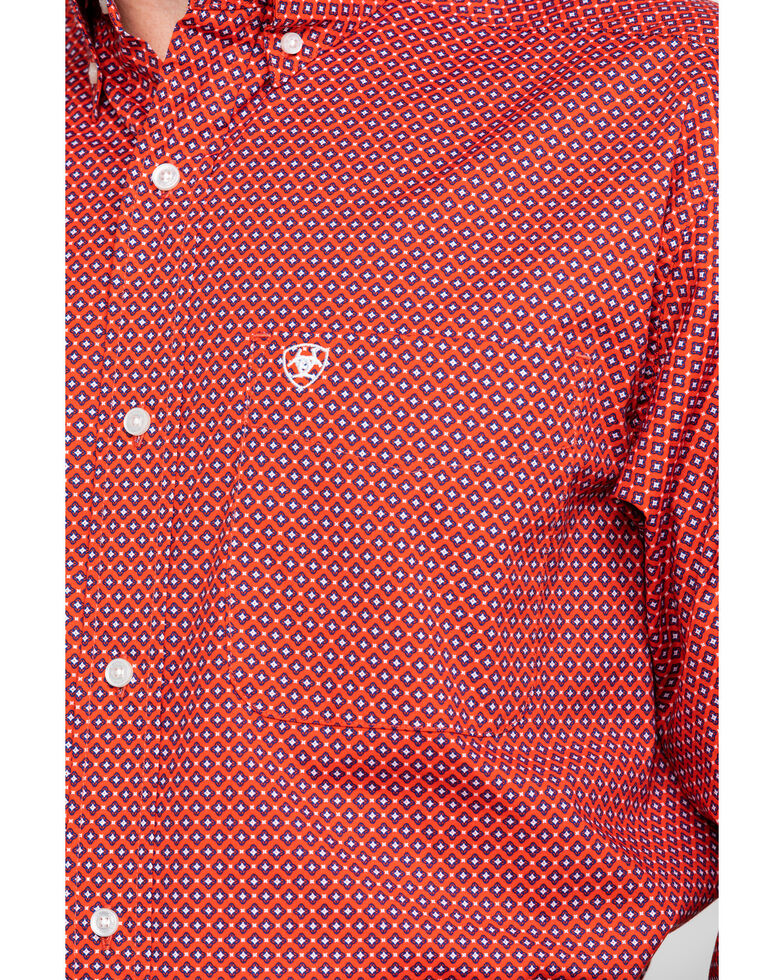 Ariat Men's Robinson Stretch Geo Print Long Sleeve Western Shirt , Red, hi-res
