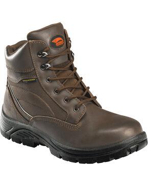 "Avenger Men's Brown Waterproof 6"" Lace-Up Work Boots - Steel Toe, Brown, hi-res"