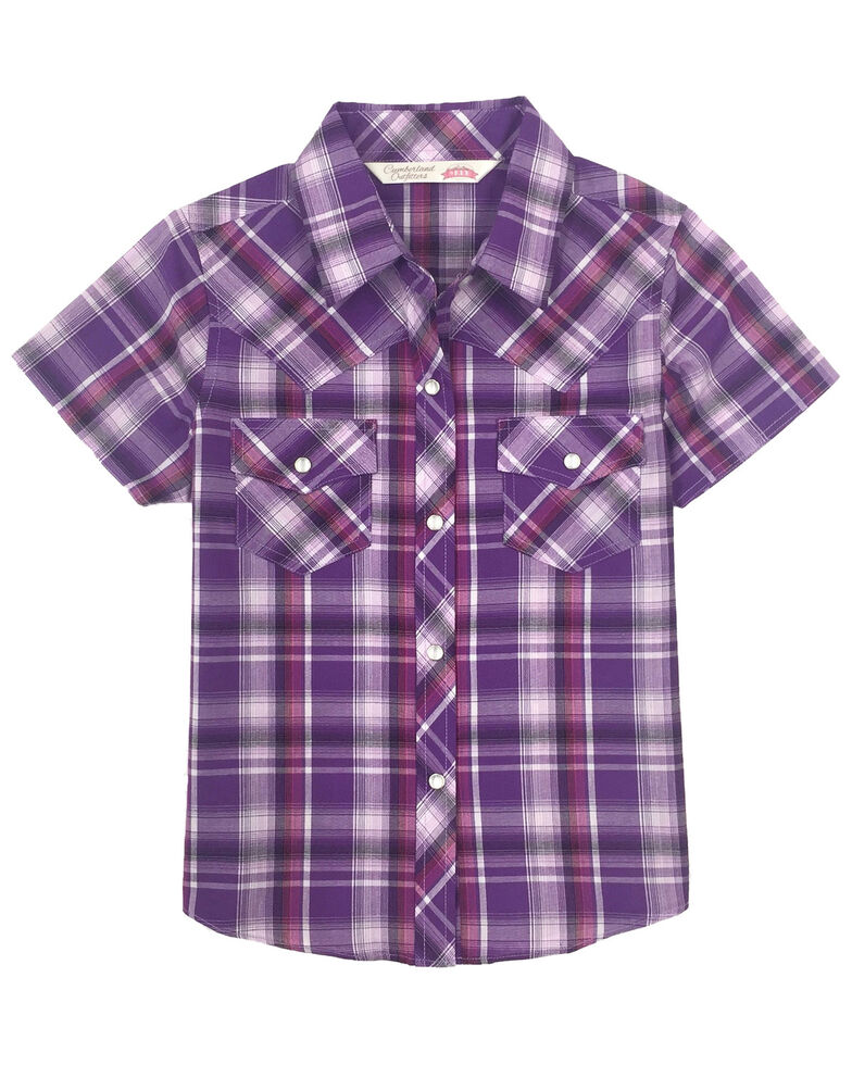 Cumberland Outfitters Girls' Purple Plaid Snap Short Sleeve Western Shirt, Purple, hi-res