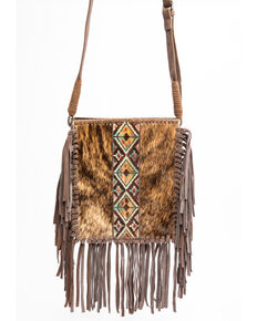 Shyanne Women's Bryndle Hair On Brown Aztec Panel Fringed Crossbody Leather Handbag, Brown, hi-res