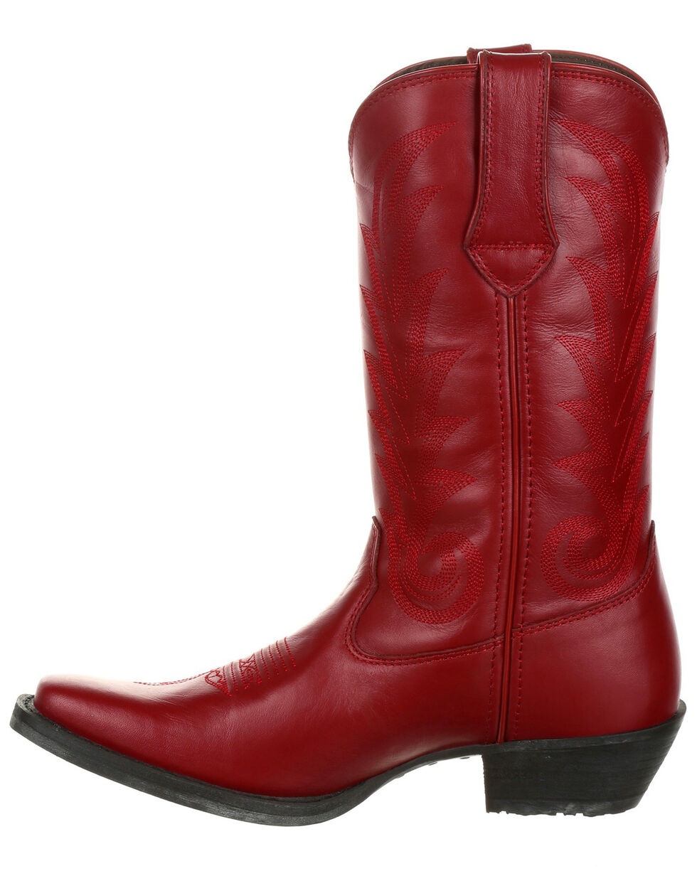 Durango Women's Scarlet Rose Full-Grain Leather Western Boots - Square Toe, Light Red, hi-res