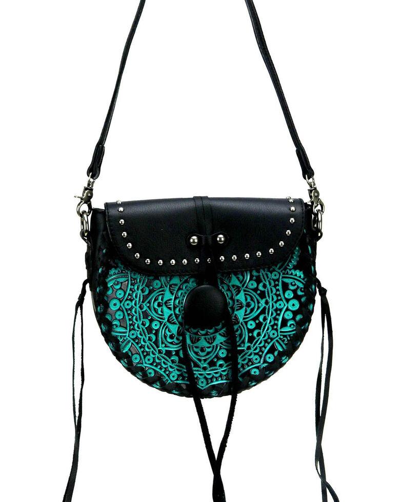 Montana West Women's Mandala Tooled Crossbody Bag, Turquoise, hi-res