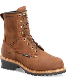 Carolina Men's Brown Waterproof Insulated Logger Boots - Steel Toe, Brown, hi-res