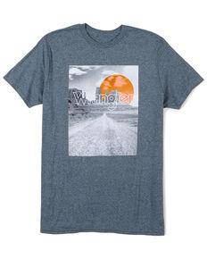 Wrangler Men's Pepper Heather Desert Sunset Graphic T-Shirt , Turquoise, hi-res