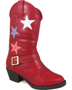 Smoky Mountain Girls' Red Star Bright Cowboy Boots - Round Toe , Red, hi-res