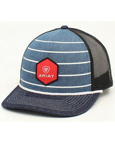 Ariat Men's Striped Denim Shield Logo Patch Mesh-Back Ball Cap , Blue, hi-res