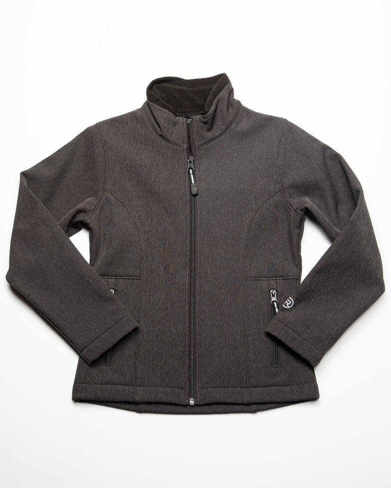 Roper Girls' Grey Softshell Fleece Jacket , Grey, hi-res