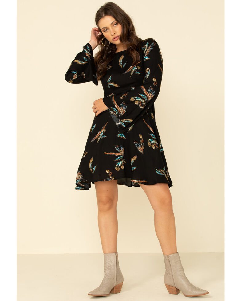 Wrangler Women's Feather Print Dress, Black, hi-res