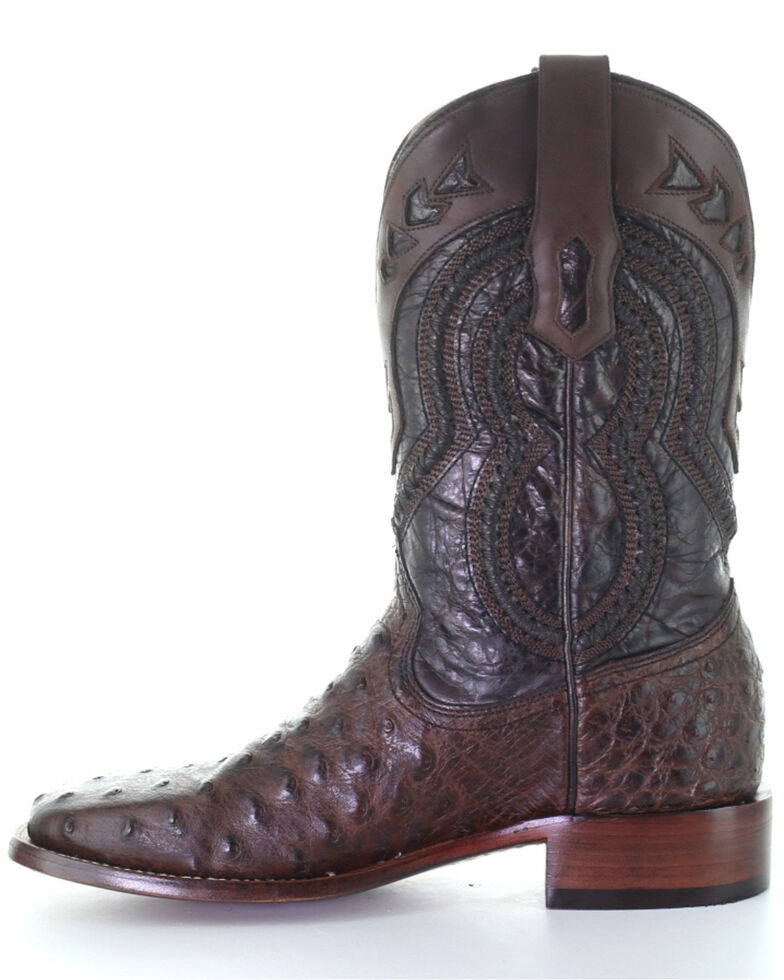 Corral Men's Ostrich overlay Western Boots - Square Toe, Brown, hi-res
