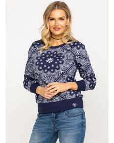 Ariat Women's REAL Relaxed Pullover Sweater , Navy, hi-res