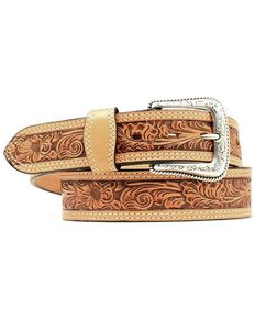 Nocona Floral Embossed Leather Belt, Natural, hi-res