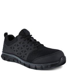 Reebok Men's Sublite Oxford Work Shoes - Composite Toe, Black, hi-res