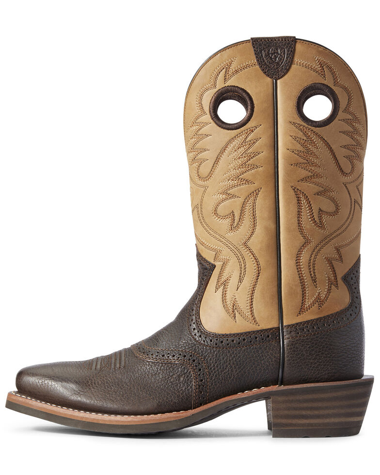 Ariat Men's Toffee Roughstock Western Work Boots - Square Toe, Brown, hi-res