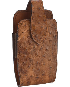 Cody James Faux Ostrich Cell Phone Holder, Brown, hi-res