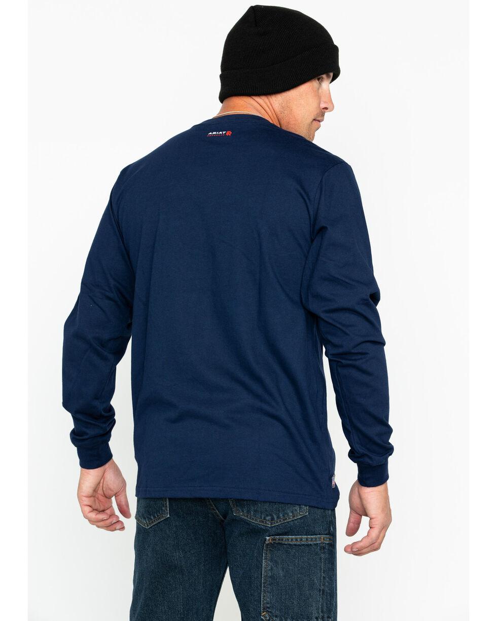 Ariat Men's Pocket Logo Crew Work Long Sleeve Shirt , Navy, hi-res