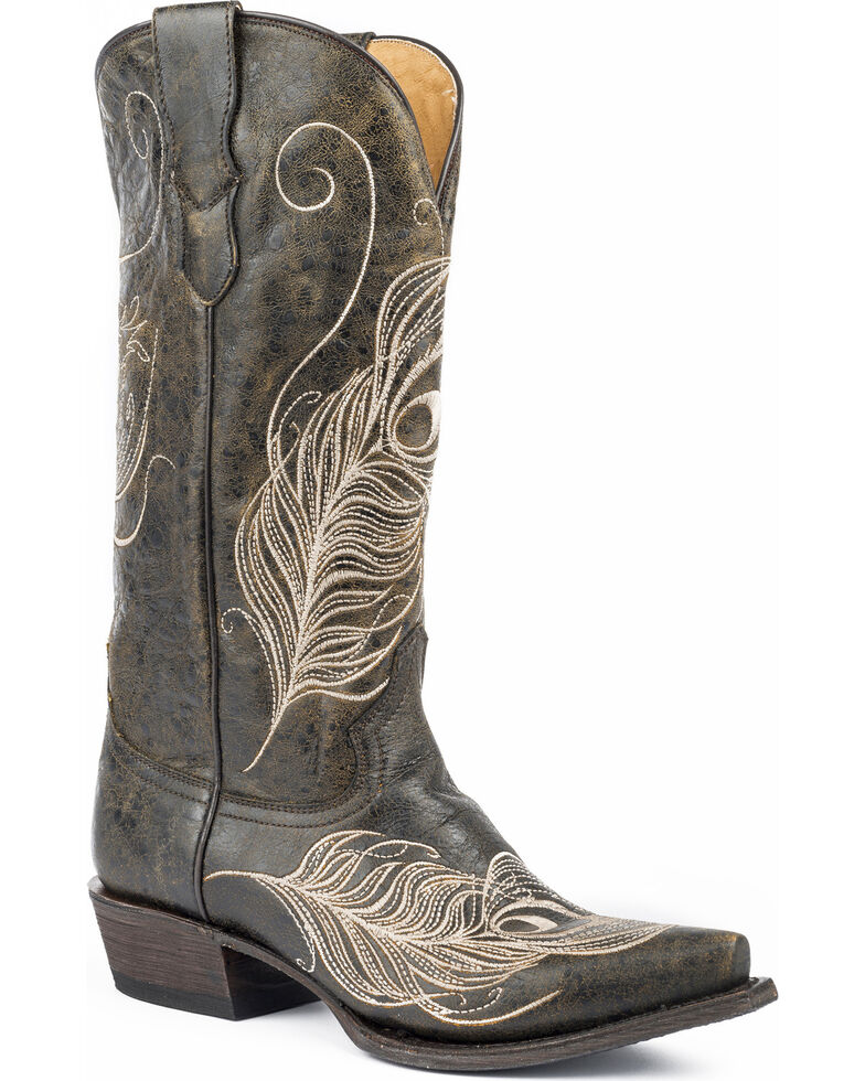 Roper Women's Black Feather Embroidered Boots - Snip Toe , Black, hi-res