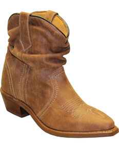Sage by Abilene Women's Short Slouch Western Booties - Snip Toe, Tan, hi-res