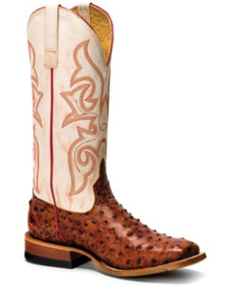 Horse Power Men's Bleached Bone Western Boots - Wide Square Toe, Tan, hi-res