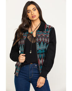 Cripple Creek Women's Navajo Blanket Bomber Jacket , Turquoise, hi-res