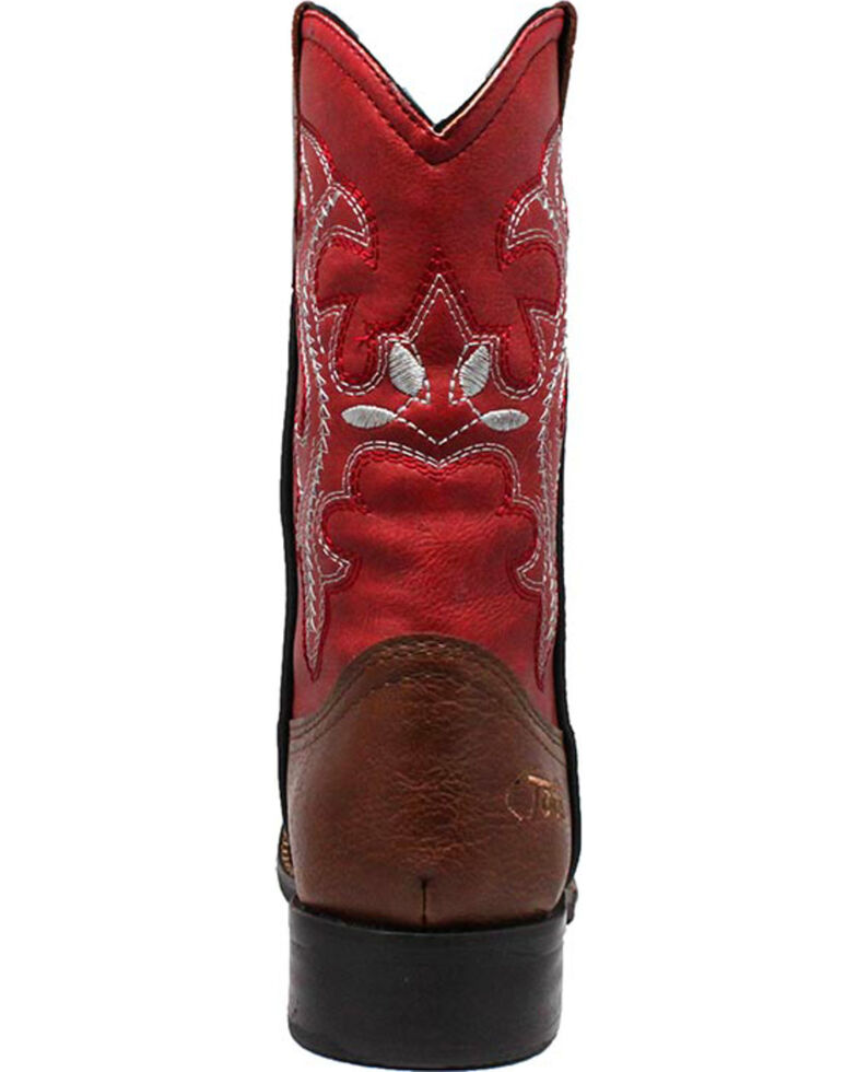 """Ad Tec Girls' 8"""" Pull On Western Boots - Square Toe, Brown, hi-res"""