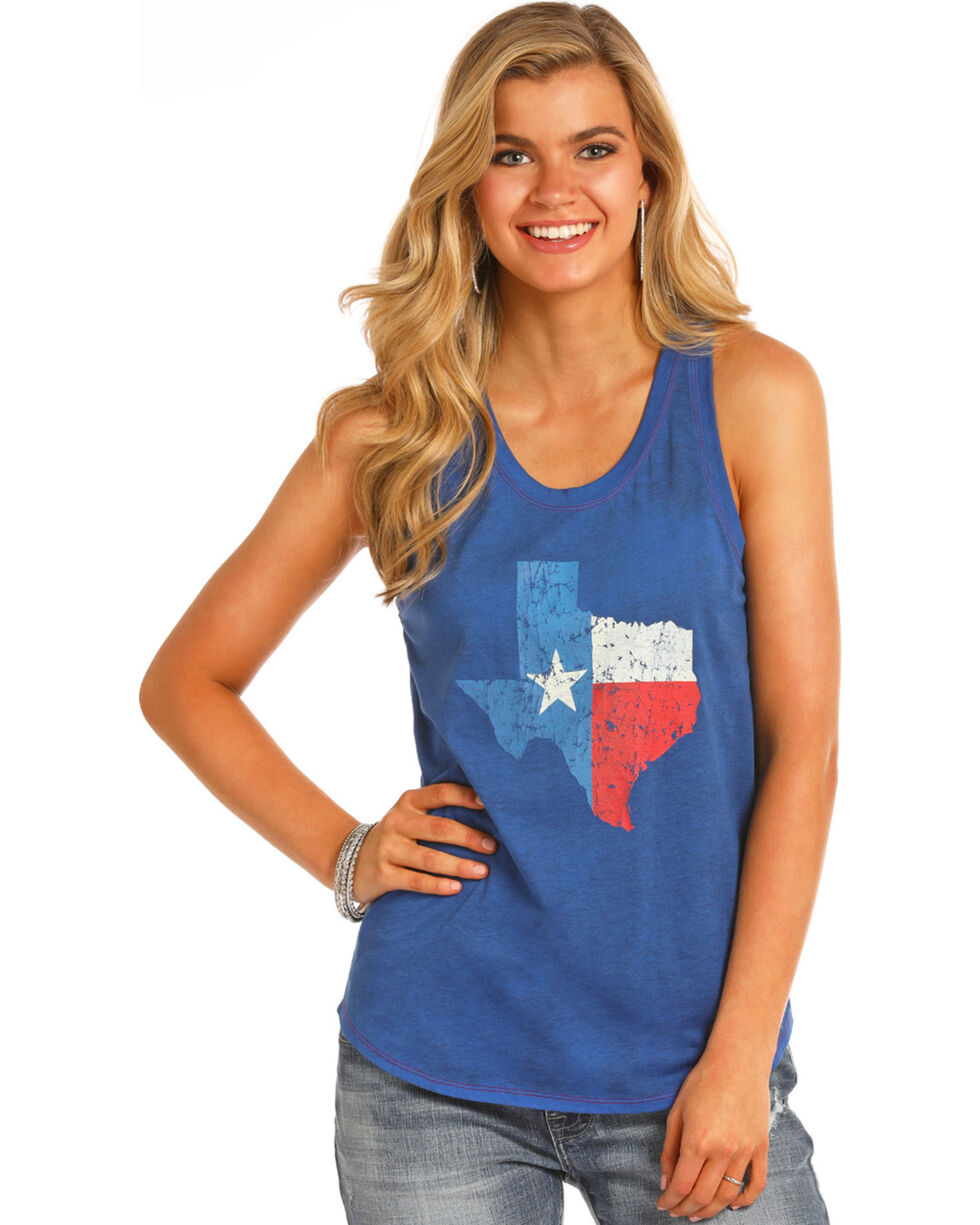 Rock & Roll Cowgirl Women's Texas State Flag Tank, Red/white/blue, hi-res